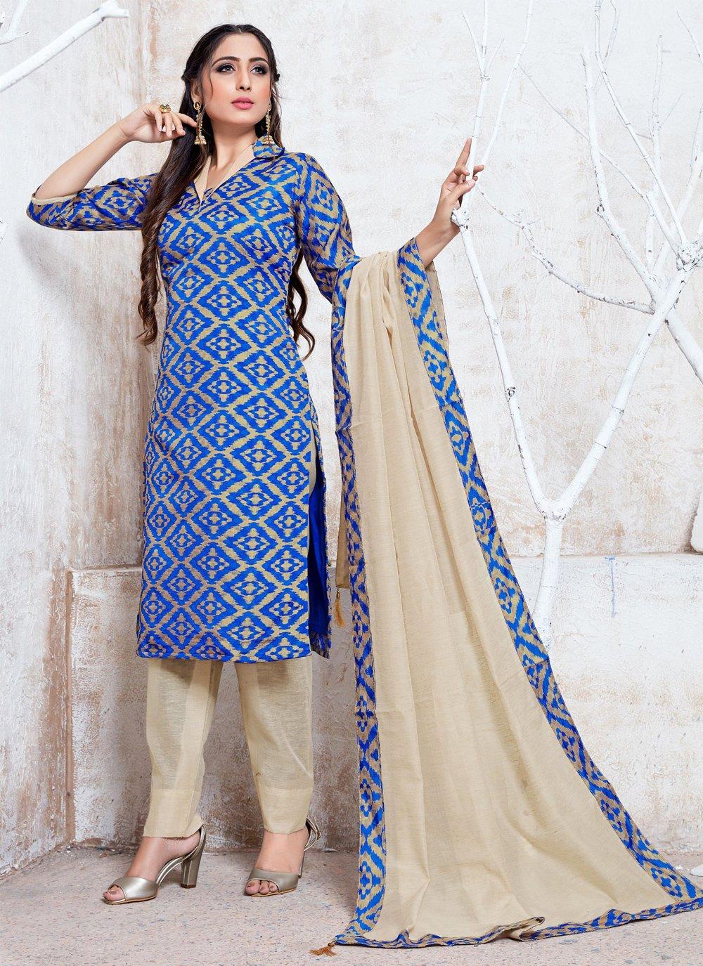 Blue Cotton Silk Trendy Salwar Suit