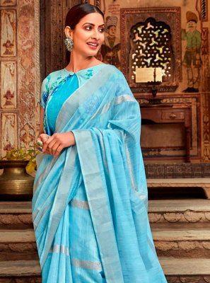 Blue Cotton Trendy Saree