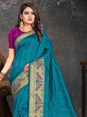 Blue Cotton Woven Casual Saree