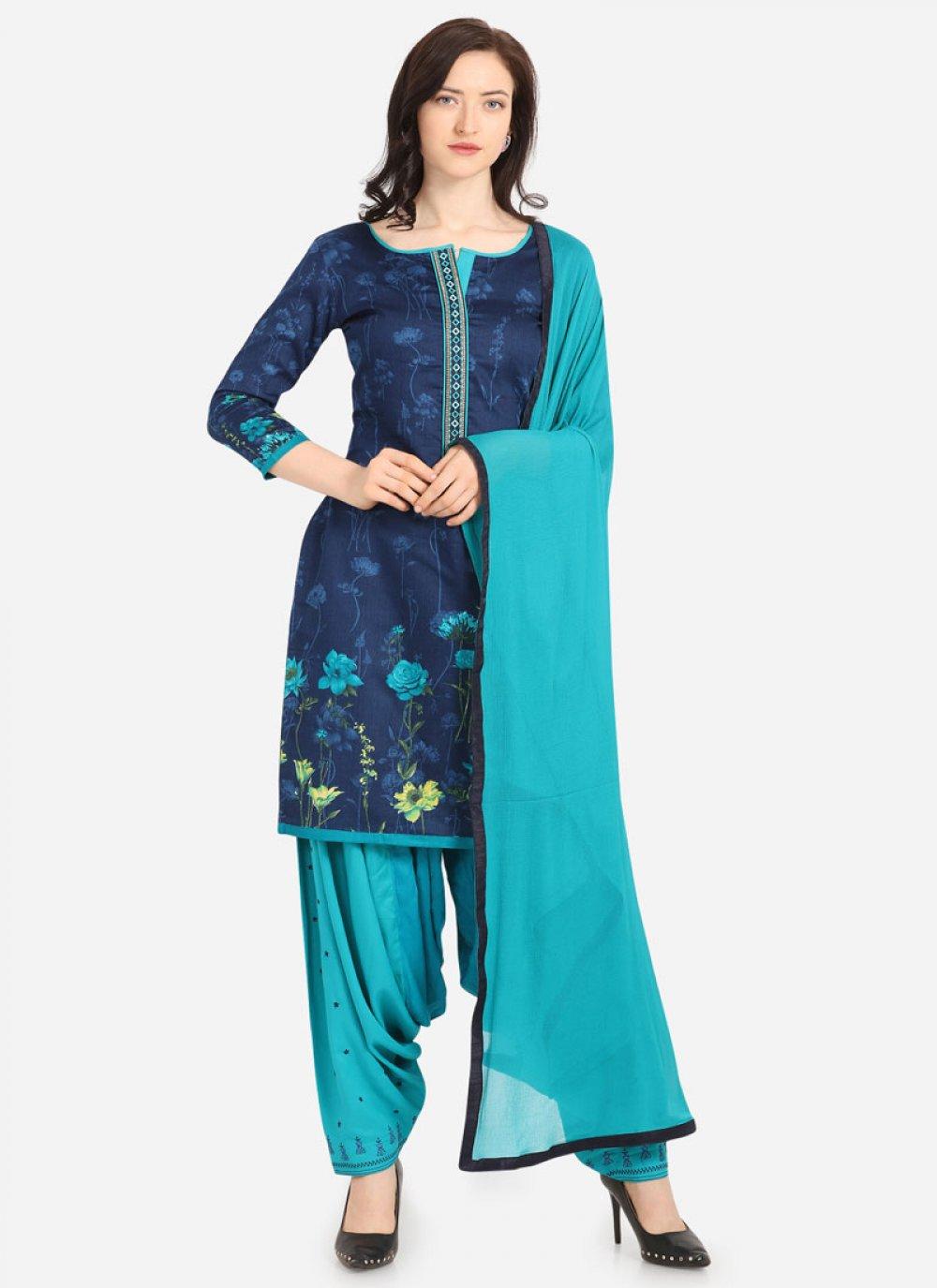 Blue Digital Print Cotton Trendy Patiala Suit