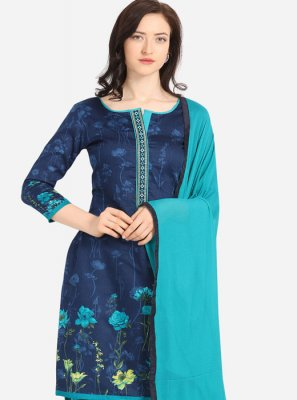 Blue Digital Print Cotton Trendy Patiala Suit