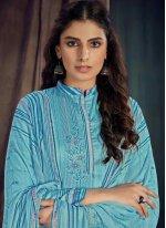 Blue Digital Print Designer Salwar Suit