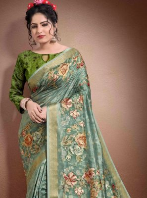 Blue Digital Print Reception Classic Saree
