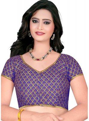 Blue Embroidered Art Raw Silk Designer Blouse
