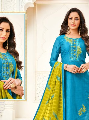 Blue Embroidered Art Silk Churidar Salwar Suit