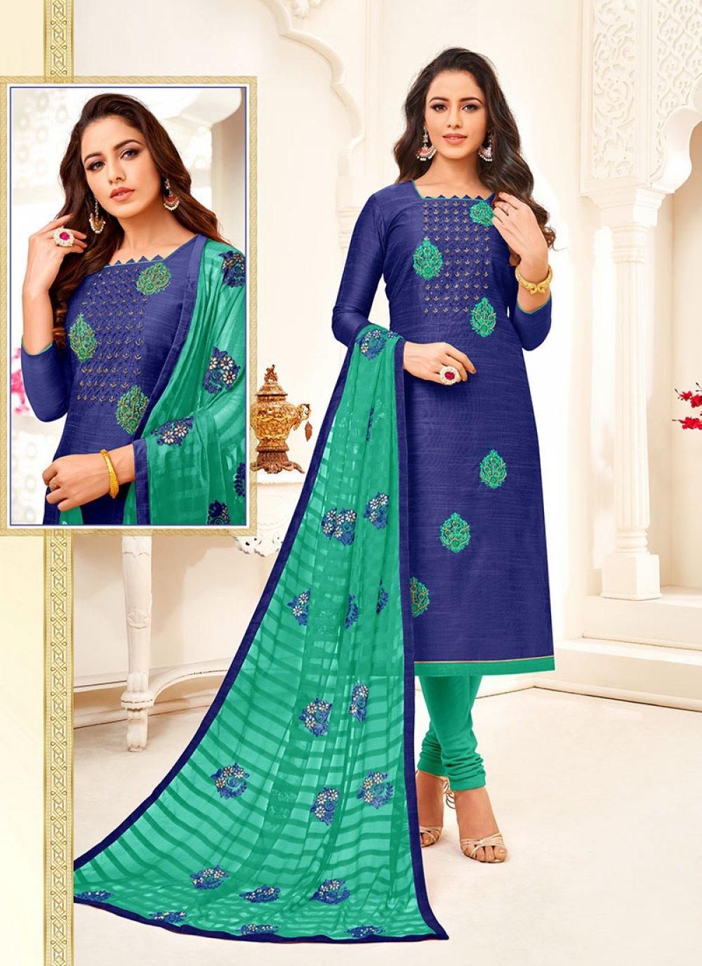 Blue Embroidered Art Silk Churidar Suit