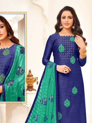 Blue Embroidered Art Silk Churidar Suit