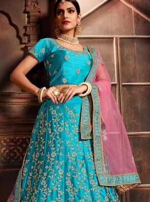 Blue Embroidered Art Silk Designer Lehenga Choli