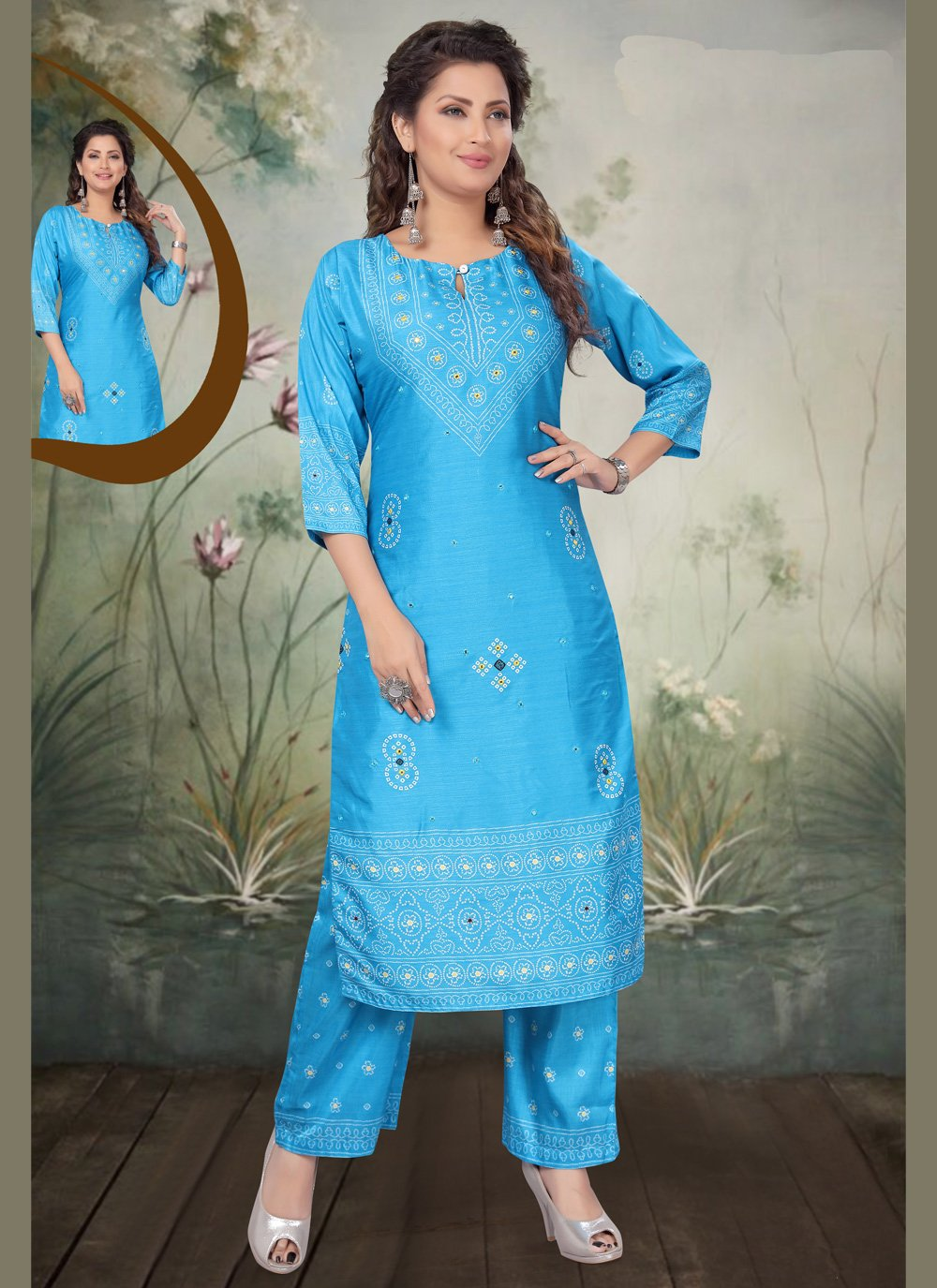 Blue Embroidered Art Silk Trendy Palazzo Salwar Kameez