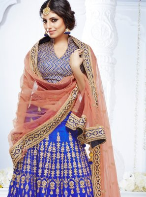 Blue Embroidered Bhagalpuri Silk Lehenga Choli