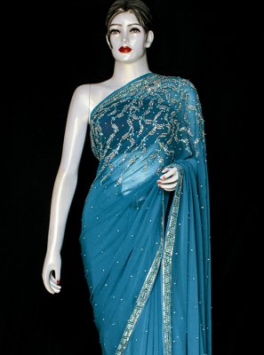 Blue Embroidered Ceremonial Designer Saree