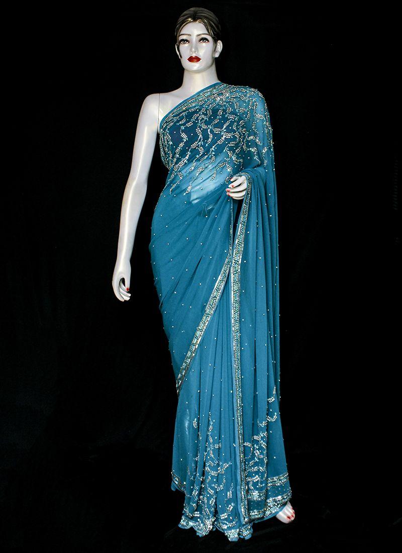 Blue Embroidered Ceremonial Designer Saree
