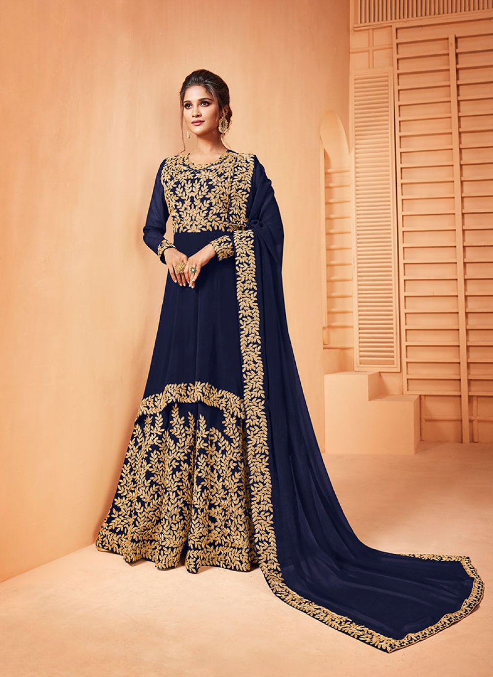 Blue Embroidered Ceremonial Salwar Suit