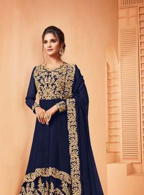 Blue Embroidered Ceremonial Salwar Suit