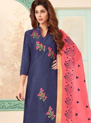 Blue Embroidered Cotton Churidar Salwar Kameez
