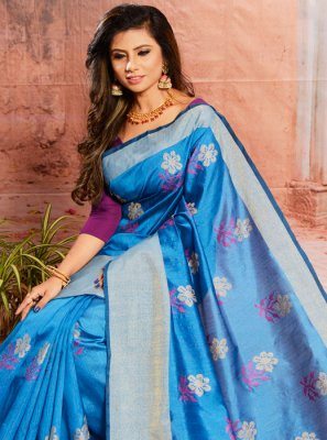 Blue Embroidered Cotton Classic Saree