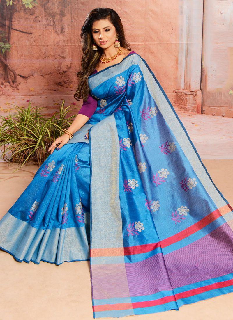 Blue Embroidered Cotton Classic Saree