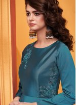 Blue Embroidered Designer Gown