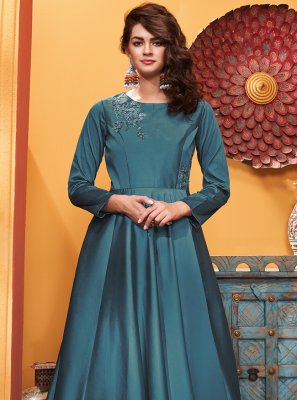 Blue Embroidered Designer Gown