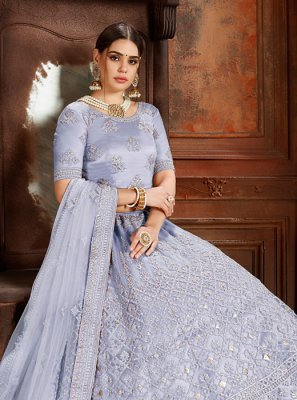 Blue Embroidered Designer Lehenga Choli