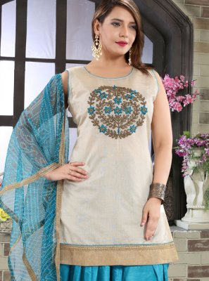 Blue Embroidered Designer Patiala Suit