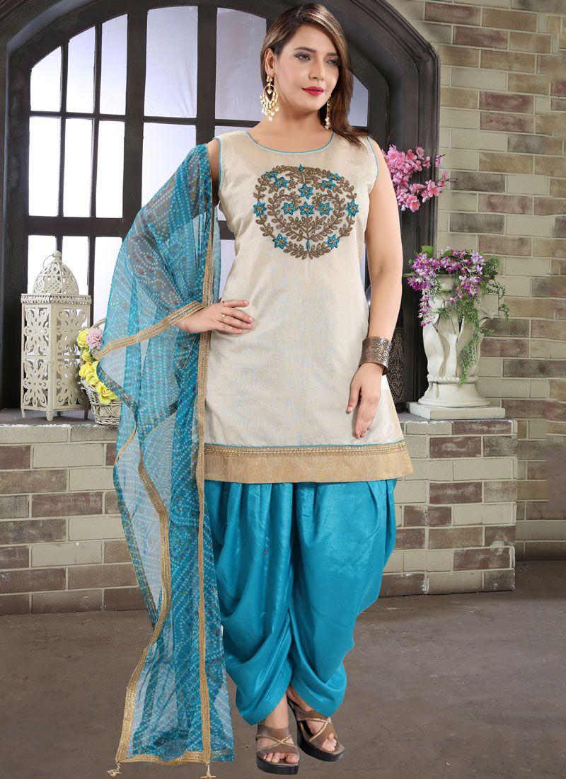 Blue Embroidered Designer Patiala Suit