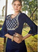 Blue Embroidered Designer Salwar Suit