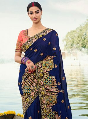 Blue Embroidered Designer Saree
