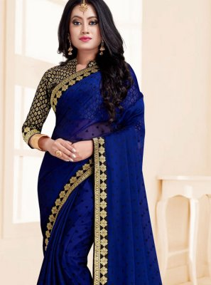 Blue Embroidered Fancy Fabric Saree