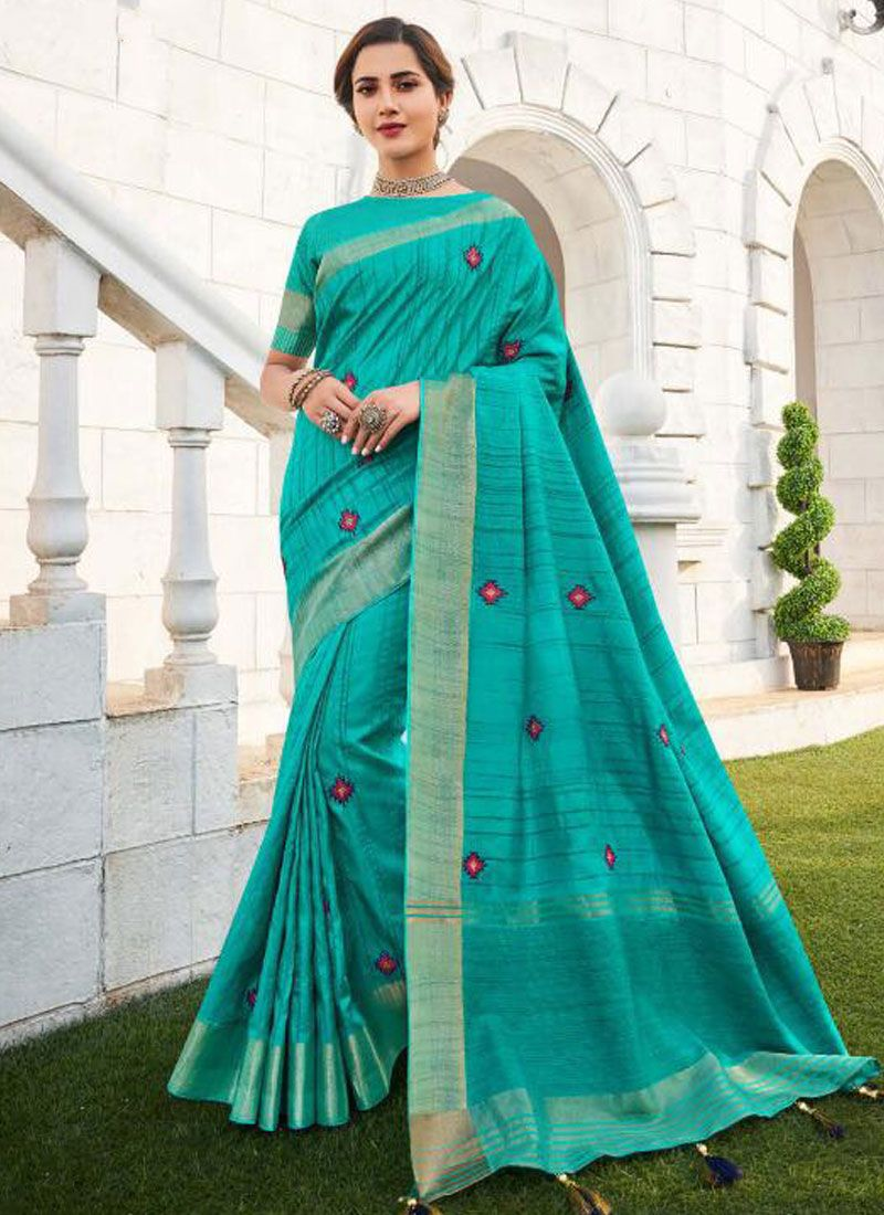 Blue Embroidered Fancy Fabric Traditional Saree