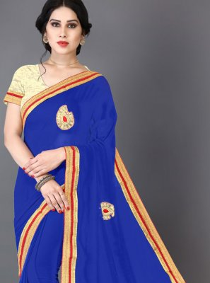 Blue Embroidered Faux Chiffon Saree