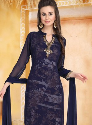Blue Embroidered Faux Georgette Churidar Designer Suit