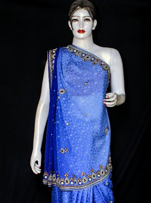 Blue Embroidered Festival Designer Saree