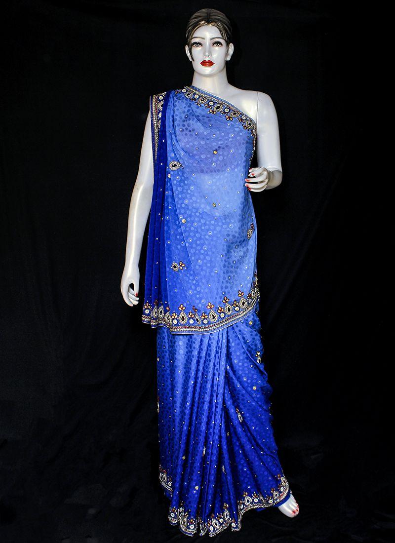 Blue Embroidered Festival Designer Saree