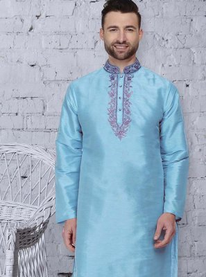 Blue Embroidered Festival Kurta Pyjama