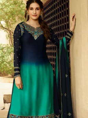 Blue Embroidered Georgette Salwar Kameez