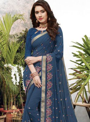 Blue Embroidered Georgette Trendy Saree