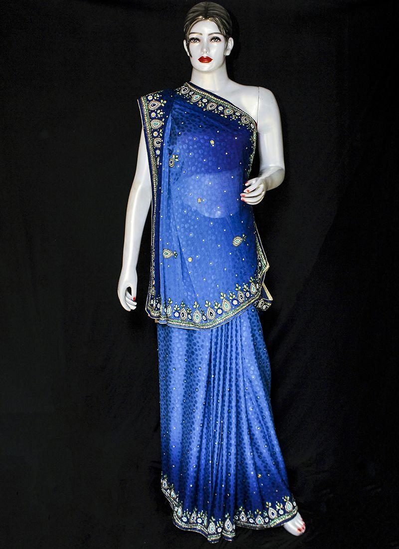 Blue Embroidered Jacquard Designer Saree