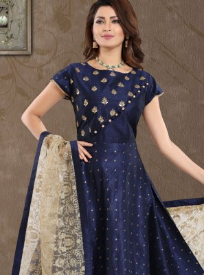 Blue Embroidered Malbari Silk  Salwar Suit