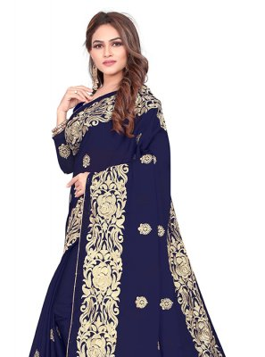 Blue Embroidered Mehndi Designer Saree