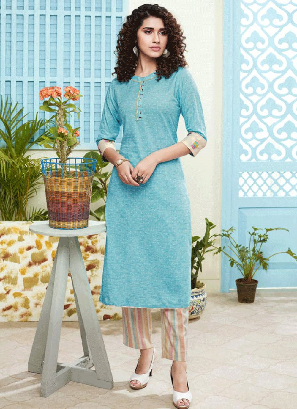 Blue Embroidered Mehndi Salwar Kameez