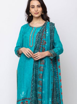 Blue Embroidered Muslin Salwar Kameez