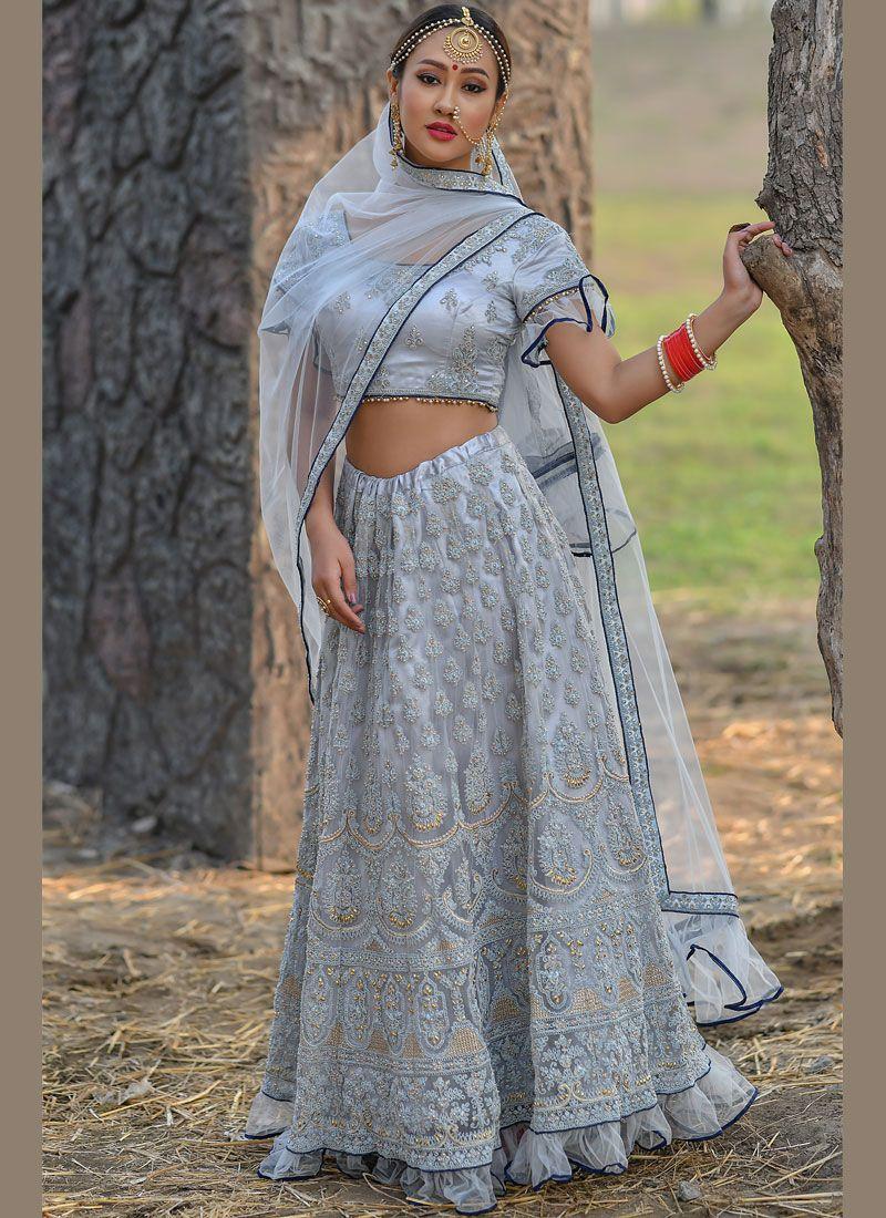Blue Embroidered Net Designer Lehenga Choli