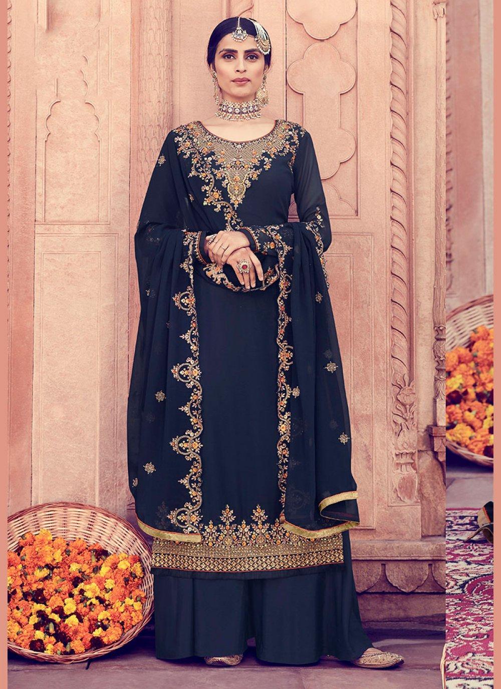 Blue Embroidered Party Designer Pakistani Salwar Suit