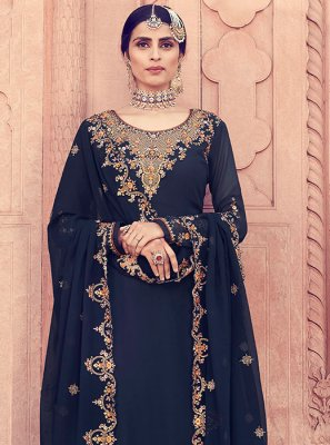 Blue Embroidered Party Designer Pakistani Salwar Suit