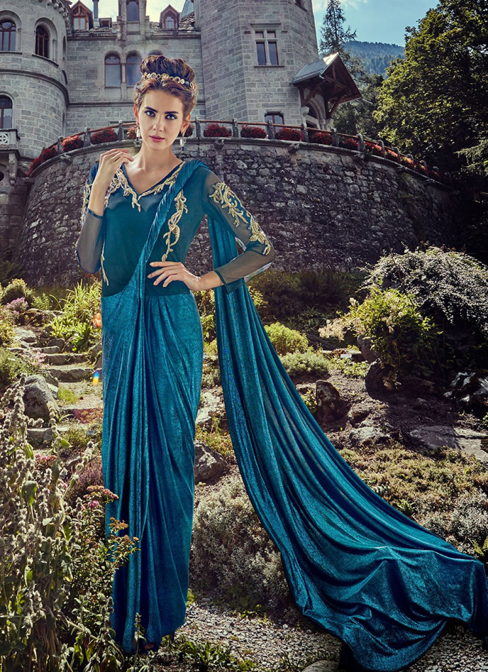 Blue Embroidered Party Floor Length Gown