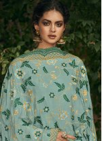 Blue Embroidered Party Salwar Suit