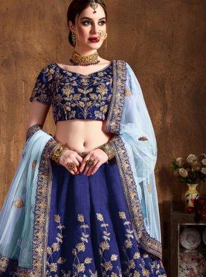 Blue Embroidered Raw Silk Lehenga Choli