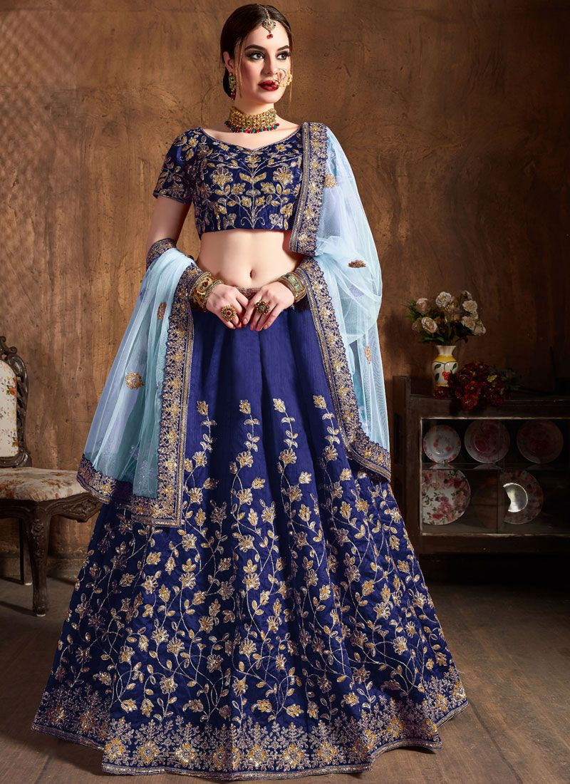 Blue Embroidered Raw Silk Lehenga Choli
