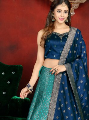 Blue Embroidered Readymade Lehenga Choli